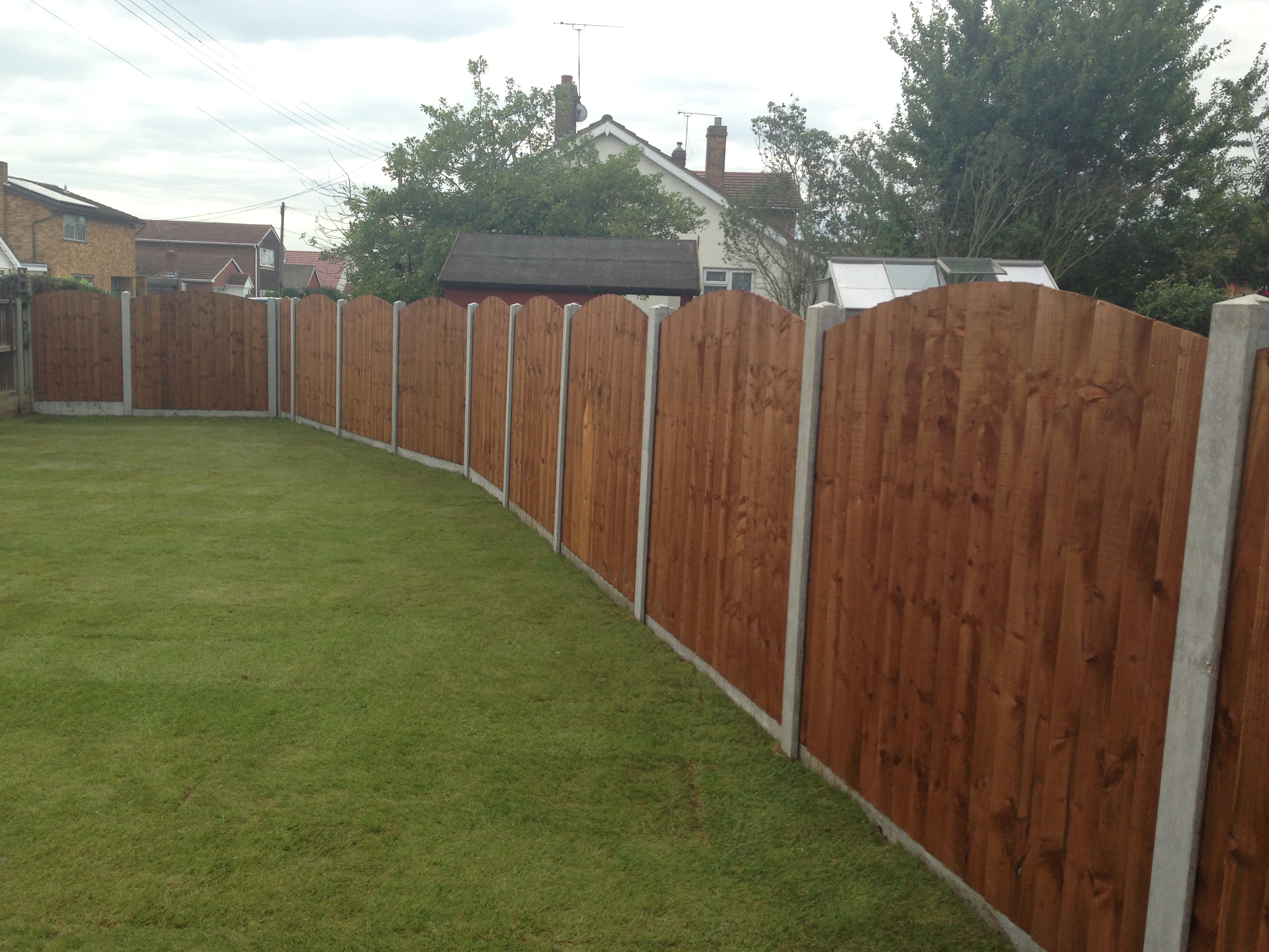 feather edged fencing, oval top, concrete posts and gravel boards